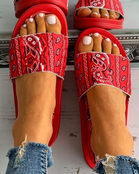 Paisley Print Open Toe Casual Flat Sandals