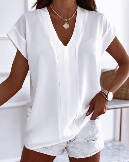 V-Neck Short Sleeve Plain T-shirt