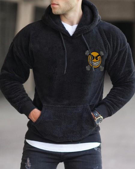 Mens Emoj Printed Polar Fleece Long Sleeve Hoodie Tops
