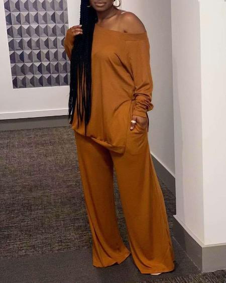 Long Sleeve Casual Top & Pockets Pants Sets