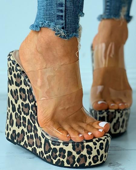 Cheetah Print Clear Perspex Wedge Sandals