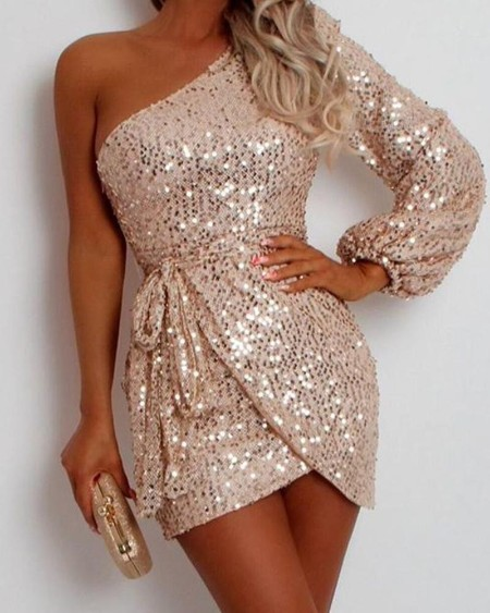 Sequined One Shoulder Bodycon Mini Dress