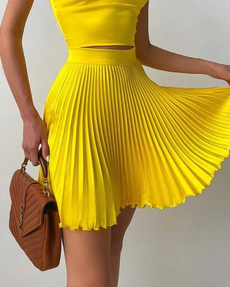Two Piece Skirts Suits Solid Color Sleeveless Square Neck Crop Top & Pleated Skirt Sets