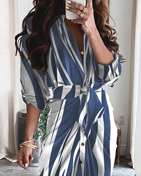 Tied Detail Ruched Striped Print Colorblock Shirt Dress