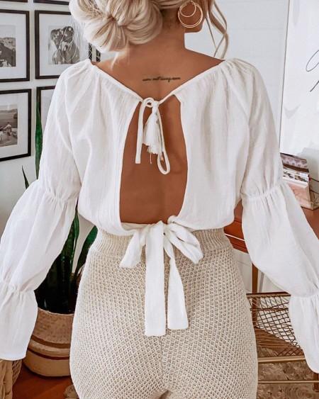 Plain Backless Long Sleeve Blouse