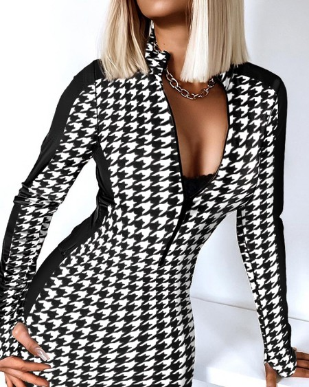 Houndstooth Print Colorblock Zipper Design Thumb Hole Bodycon Dress