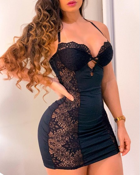 Crochet Lace Ruched Cutout Bodycon Dress