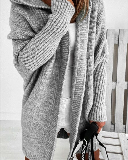 Open Front Batwing Sleeve Hooded Cardigan
