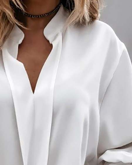 Bell Sleeve Frill Hem Casual Shirt
