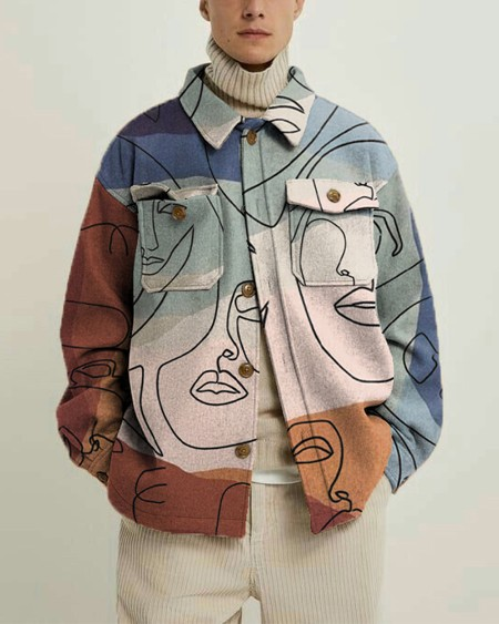 Abstract Lines Print Long Sleeve Woolen Overshirt