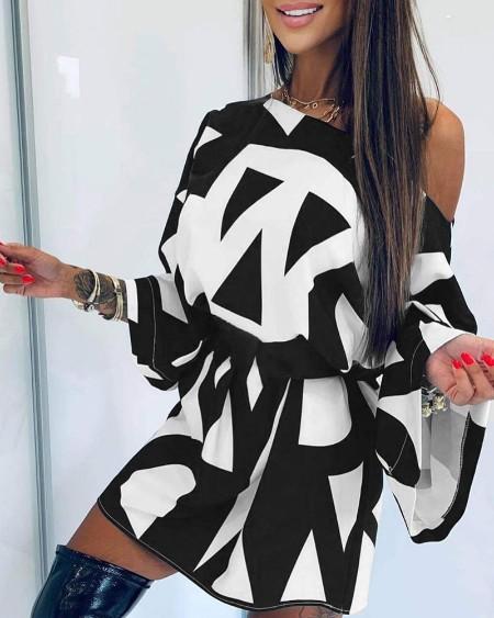 Round Neck Graphic Print Dress