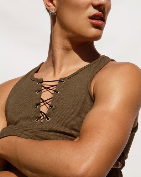 Solid Color Lace-up Sleeveless Ribbed Tank Top