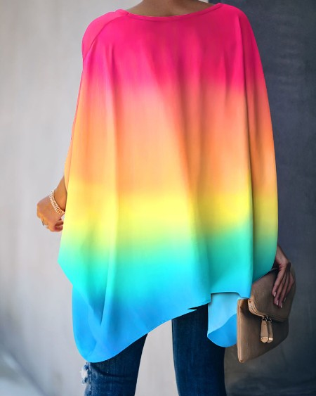 Gradient Color Tie Dye Print Batwing Sleeve Casual Top