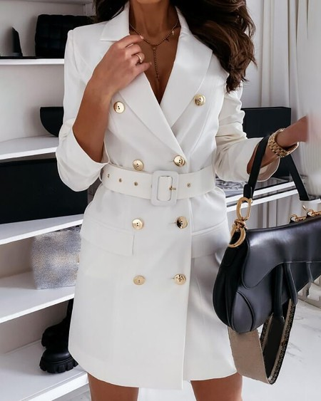 Double Breasted Long Sleeve Blazer Dress With Belt