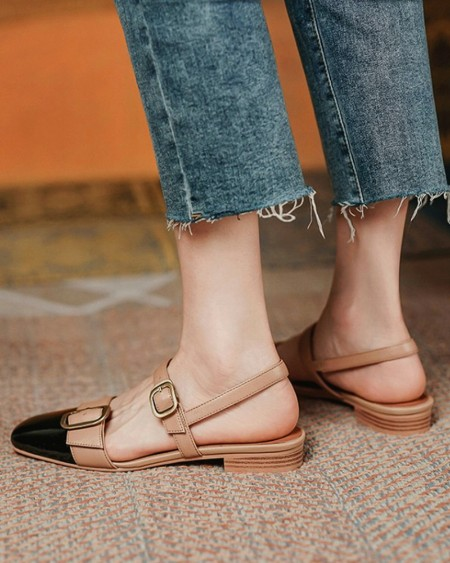 Colorblock Buckled Square Toe Slingback Shoes