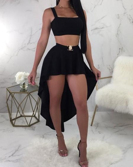 Thick Strap Square Neck Top & Dip Hem Skirt Set