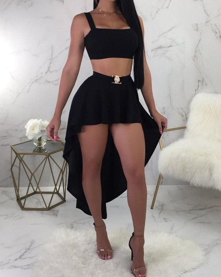 Thick Strap Square Neck Top & Dip Hem Skirt Set