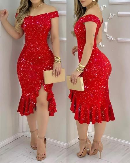 Glitter Off Shoulder Ruffles Slit Women Dress