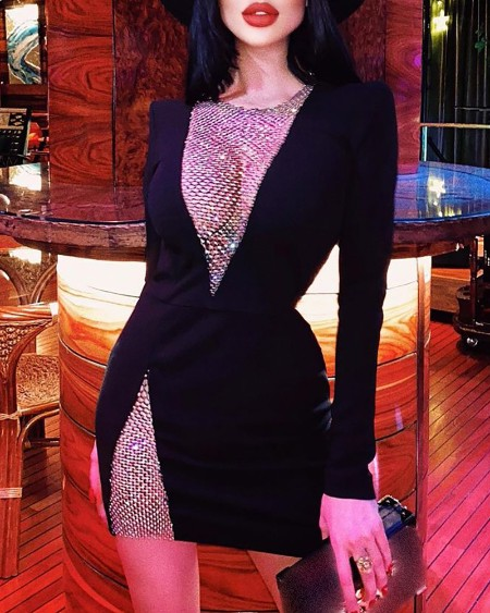 Long Sleeve Hollow-out Bodycon Women Dress