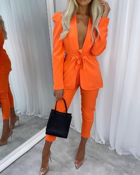 Solid Shawl Collar Tie Front Blazer & Pants Set