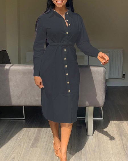 Long Sleeve Buttoned Ruched Shirt Dress