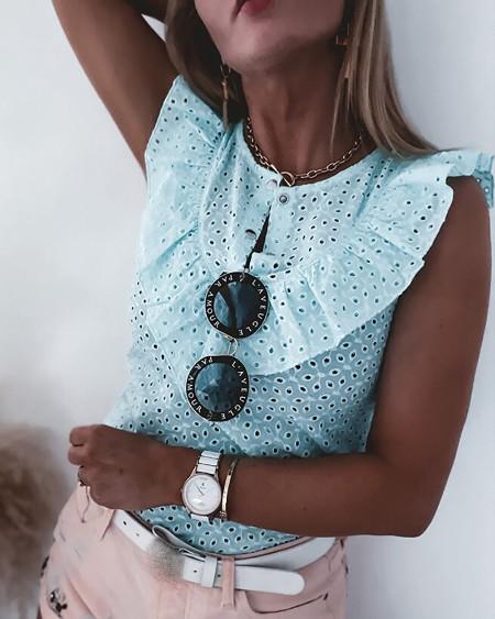 Eyelet Embroidery Ruffles Button Design Top