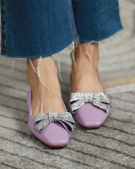 Square-toe Solid Color Splicing Rhinestone Bow Flat Slip-on