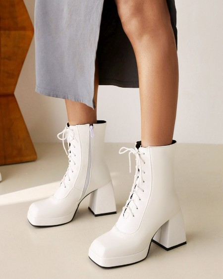 Womens Square Toe Lace-up High Heel Side Zipper Boots