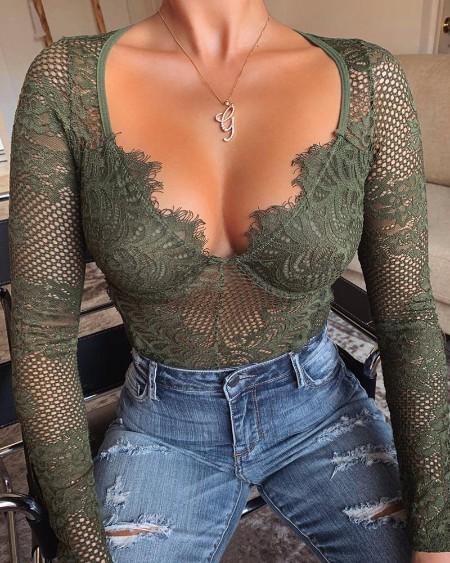 Eyelash Lace Hollow Out Bodysuit