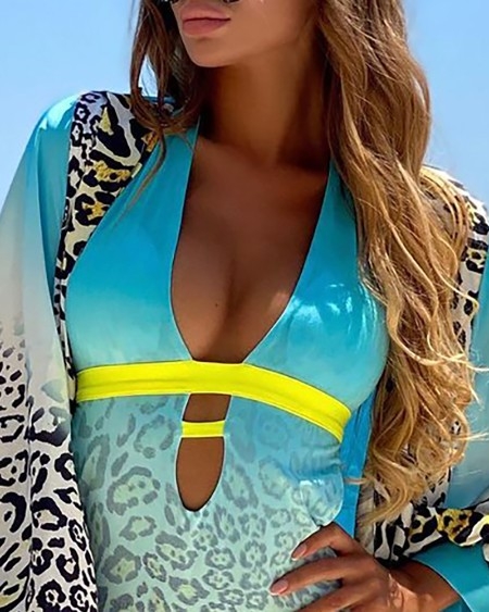 Leopard Print Plunge Halter Swimwear & Cover Up Set