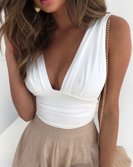 Plunge Ruched Casual Tank Women Top