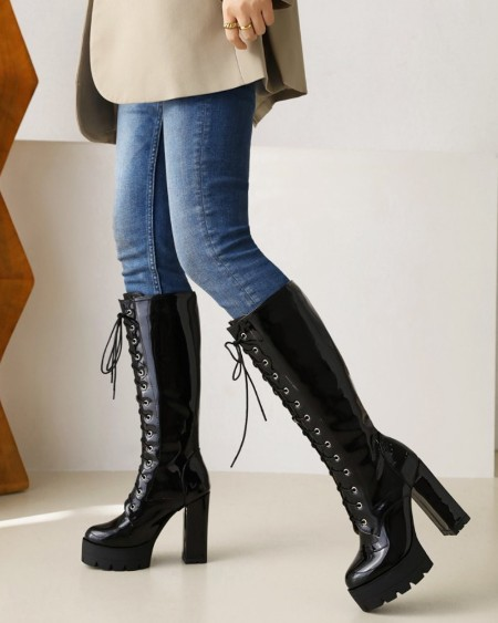 Chic Womens Lace-up Round Toe Shiny Finish High Boots