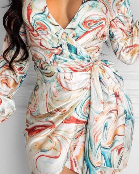 Abstract Print V-Neck Tie Front Ruched Mini Dress