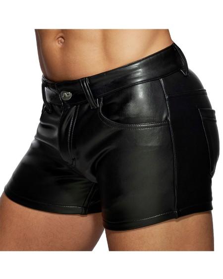 PU Leather Skinny Short Pants