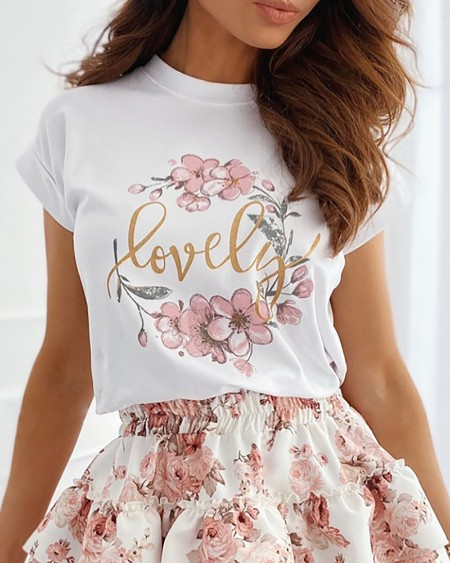 Floral Letter Print T-shirt & Layered Ruffles Skirt Set