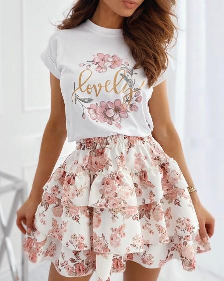 Floral Letter Print T-shirt & Layered Ruffles Skirt Set