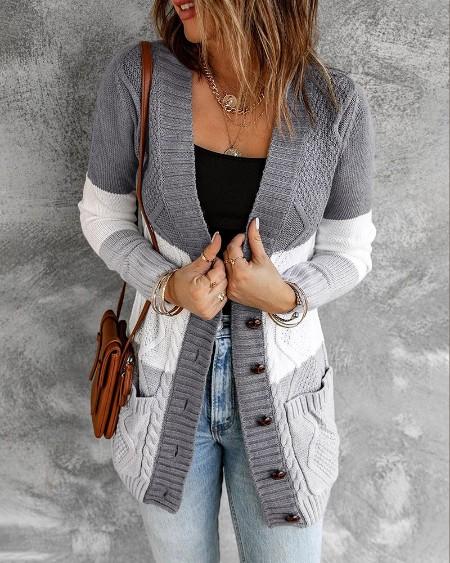Colorblock Pocket Button Design Braided Knit Cardigan