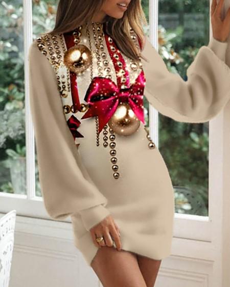 Christmas Print Long Sleeve Casual Dress