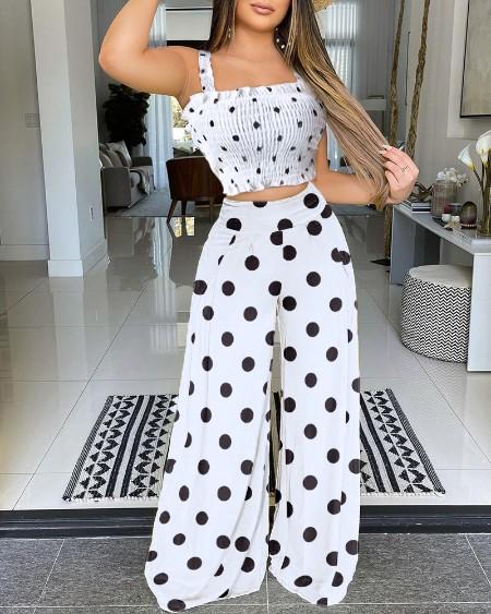 Crochet Lace Halter Polka Dot Crop Top & Wide Leg Pants Set