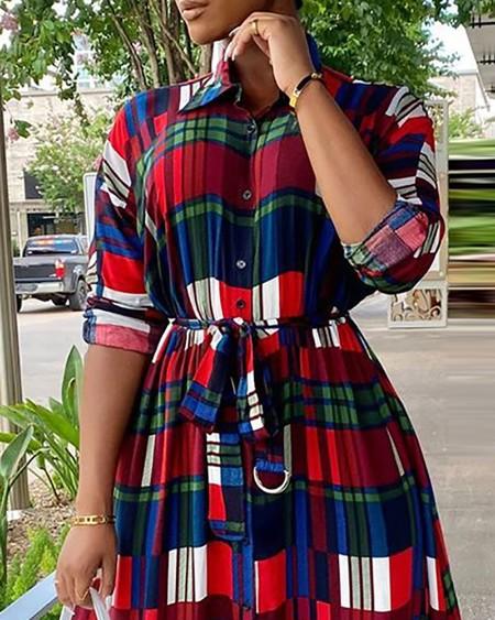 Plaid Print Colorblock Buttoned Shirt Dress