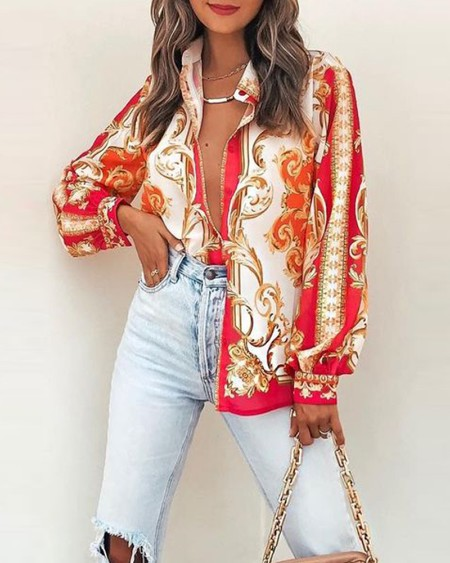 All Over Print Button Up Long Sleeve Top