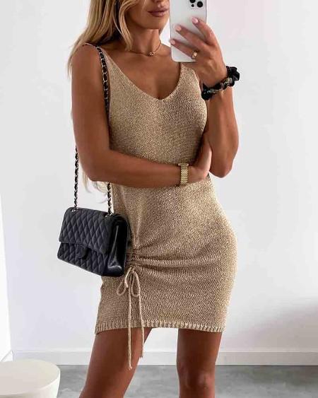 Solid Strap Ruched Slim Mini Dress