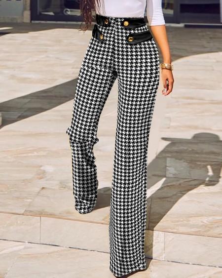 Houndstooth Print Buttoned High Waist Wide Leg Tailored Pants Elegant Work Pants