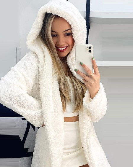 Fluffy Long Sleeve Hooded Teddy Coat