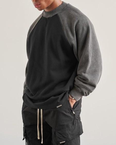 Color Block Long Sleeve Fleece Loose Sweatshirt T-shirt