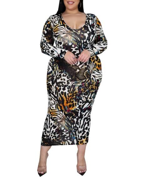 Leopard Print Long Sleeve Maxi Dress