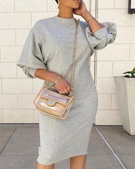 Plain Lantern Sleeve Sweatshirt Dress