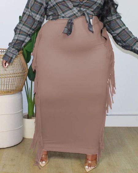 Plus Size Tassel Detail Skinny Maxi Skirt