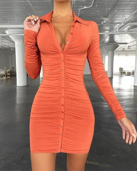 Ruched Button Design Skinny Shirt Dress
