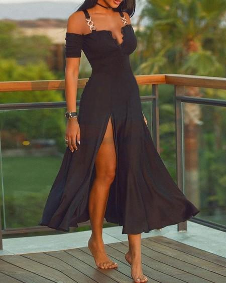 Metal Strap Plain High Slit Dress